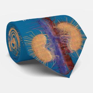 Corbata Azul artsy único del diseño del riñón del lazo del