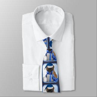 Corbata azul del perrito del boxeador del navidad
