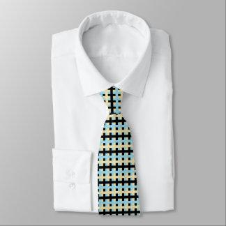 Corbata Azul en colores pastel abstracto, beige y negro