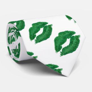 Corbata Besos verdes del lápiz labial