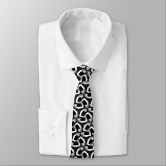 Corbata blanco y negro del modelo del triángulo corbata fina
