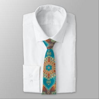 Corbata bohemia del este del oro de la turquesa corbata fina