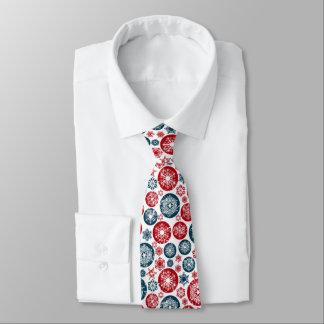 Corbata Bolas y copos de nieve Rojo-Azules hermosos de