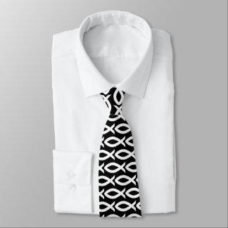 Corbata cristiana blanco y negro del símbolo de