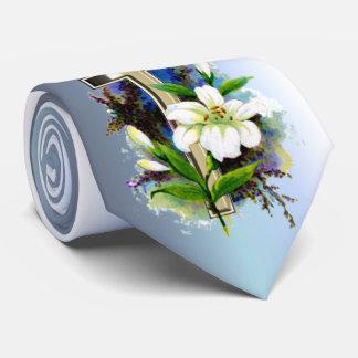 Corbata Cruz de oro de Pascua y flores blancas de Lilly