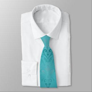 Corbata Damasco del Grunge de la turquesa