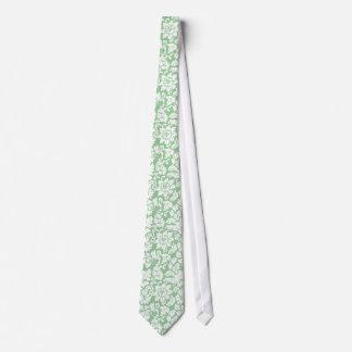 Corbata Damascos florales elegantes del verde menta y