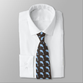 Corbata Delfínes azules en marrón