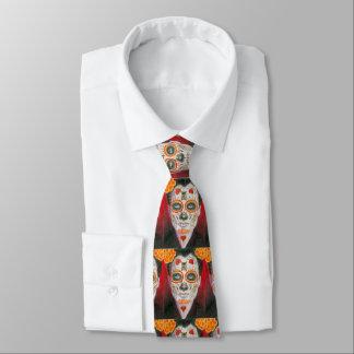 Corbata Día del cráneo muerto del azúcar con los corazones