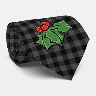 Corbata El acebo sale - de la tela escocesa gris y negra