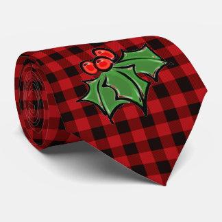 Corbata El acebo sale - de la tela escocesa roja y negra