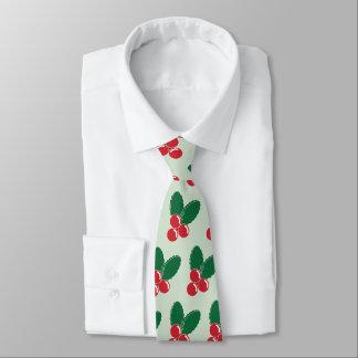 Corbata El verde rojo de las bayas del navidad deja el