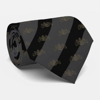 Corbata Emblema del león del bronce de la raya del negro y
