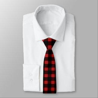 Corbata Fina Tela escocesa negra roja del búfalo del invierno