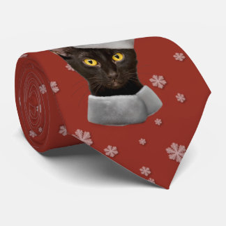 Corbata Gato negro de Santa del navidad divertido