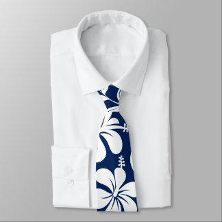 Corbata Hibisco azul y blanco