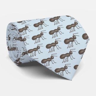 Corbata Impresión azul del insecto del negro de la hormiga