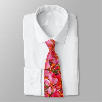 Corbata Impresión hawaiana anaranjada rosada brillante del