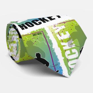 Corbata Jugador de hockey abstracto azul y verde