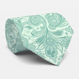 Mint-Green Tones Vintage Ornate Paisley