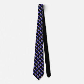 Corbata Las flores azules del lazo negro/poner crema