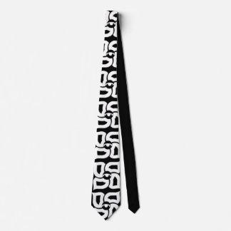 Corbata Lazo de cuatro elementos blanco y negro
