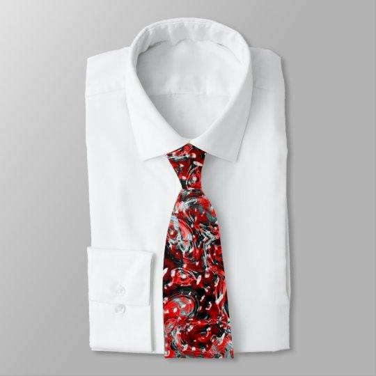 Corbata Lazo líquido abstracto rojo y negro del modelo de