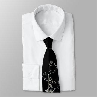 Corbata Lazo negro de las notas de la música del Clarinet