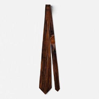 Corbata Lazo para hombre de Brown del grano de madera