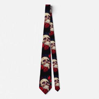 Corbata lazo para hombre del cráneo y de los rosas rojos