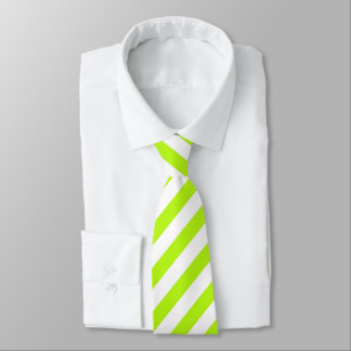 Corbata Lazo rayado del verde lima/blanco