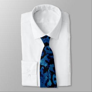 Corbata Magia abstracta - negro del Grunge de los azules