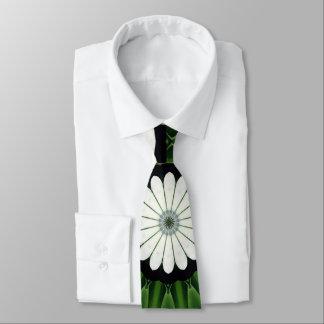 Corbata Mandala verde y blanca tropical de la flora