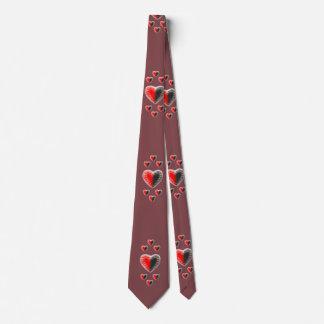 Corbata Marrón de los corazones de Yin Yang