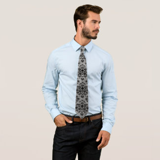 Corbata Mini gris del negro del modelo del damasco del