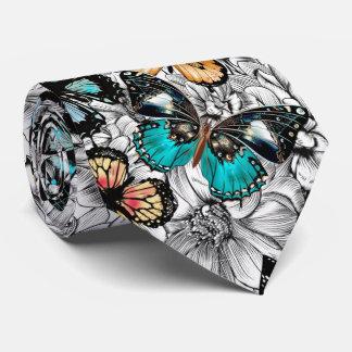 Corbata Modelo colorido del bosquejo de las mariposas
