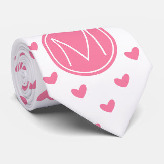 Corbata Modelo minúsculo blanco del corazón del rosa