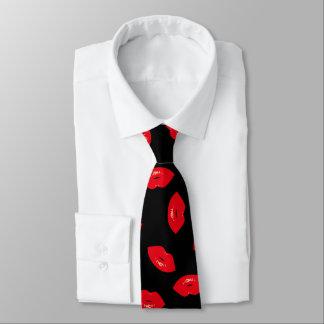 Corbata Modelo rojo de los labios de la moda atractiva