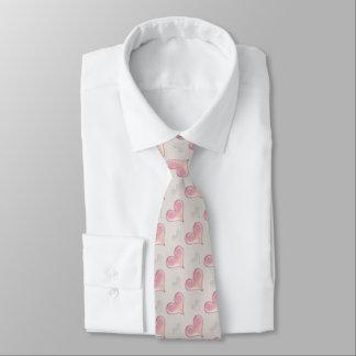 Corbata Modelo rosado romántico de los corazones