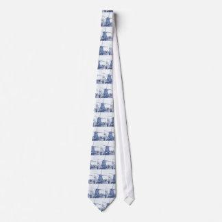 Corbata Molino de viento holandés azul de Delft,