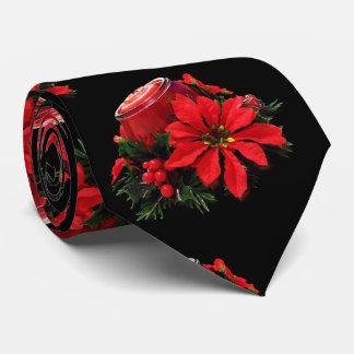Corbata Navidad rojo festivo vela, acebo y Poinsettia