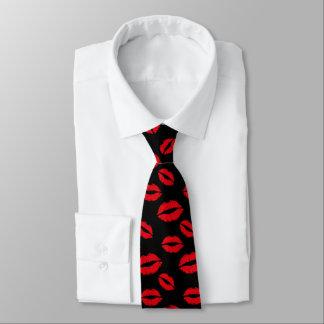 Corbata Negro moderno del modelo rojo de los labios