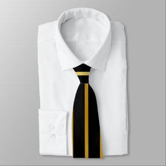 Corbata Negro y raya del oro