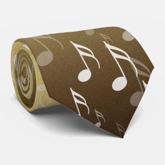 Corbata Notas musicales elegantes sobre un fondo del oro