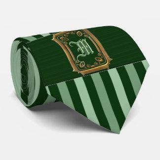 Corbata Oro con el monograma verde de la hebilla de las