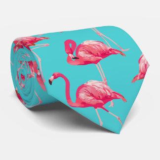 Corbata Pájaros rosados del flamenco en fondo de la