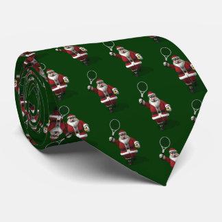 Corbata Papá Noel que juega a tenis