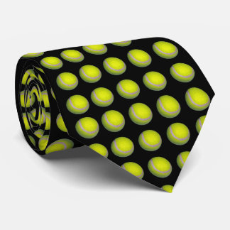 Corbata Pelotas de tenis amarillas en fondo negro,