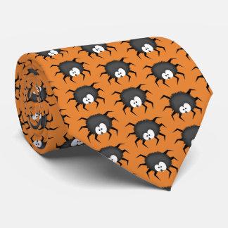 Corbata Personalizada Arañas en un fondo anaranjado
