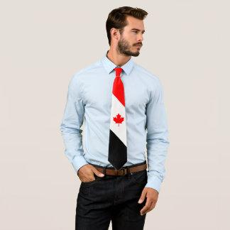 Corbata Personalizada Arce canadiense en negro blanco rojo